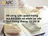 06 công việc quan trọng mà Kế toán và nhân sự cần làm trong tháng 12/2018