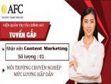 Thông báo tuyển dụng vị trí Nhân viên Content Marketing